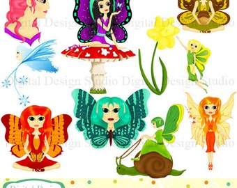 Beautiful fairies clip art set, 10 designs. INSTANT DOWNLOAD for Personal and commercial use.