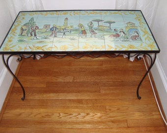 Italian Wrought Iron,  Hand-Painted, Tile Coffee Table, Local Pickup Only