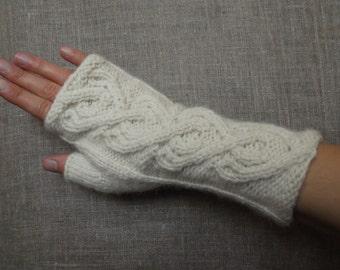 Hand knit merino fingerless gloves