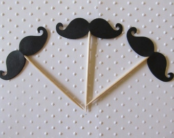 Mustache  Cupcake Toppers - Mustache Birthday Party -Little man baby shower -little man toppers - shower decorations.