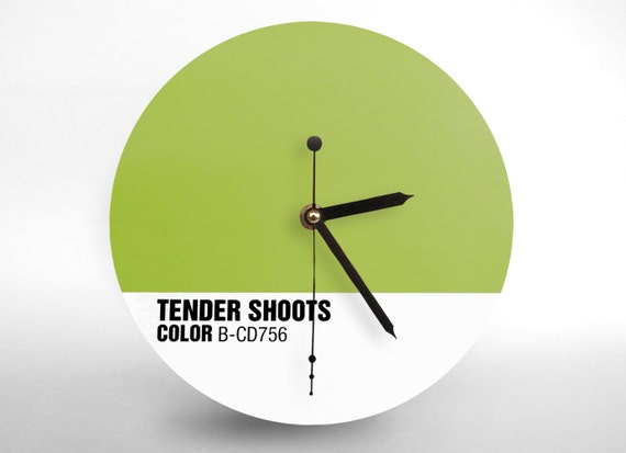 Hey Fishy - Tender shoots Wall clock (  Pantone Style Designer Clock)