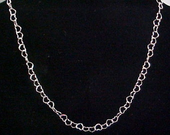 Sterling Silver 12-inch Heart Chain Necklace