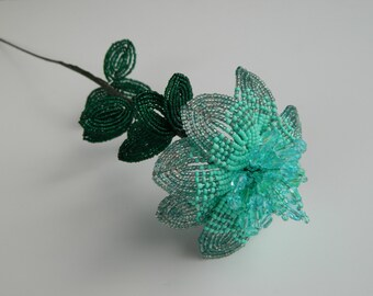 Mint French Beaded Flower