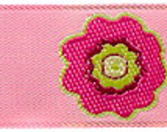 Pink and Green PRIMROSE Floral Ribbon - 7/8""
