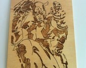 Captain america  wooden portrait woodburning wall art