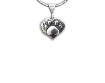 Sterling Silver Pet Paw Heart Pendant