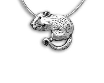 Sterling Silver Rat Large Pendant
