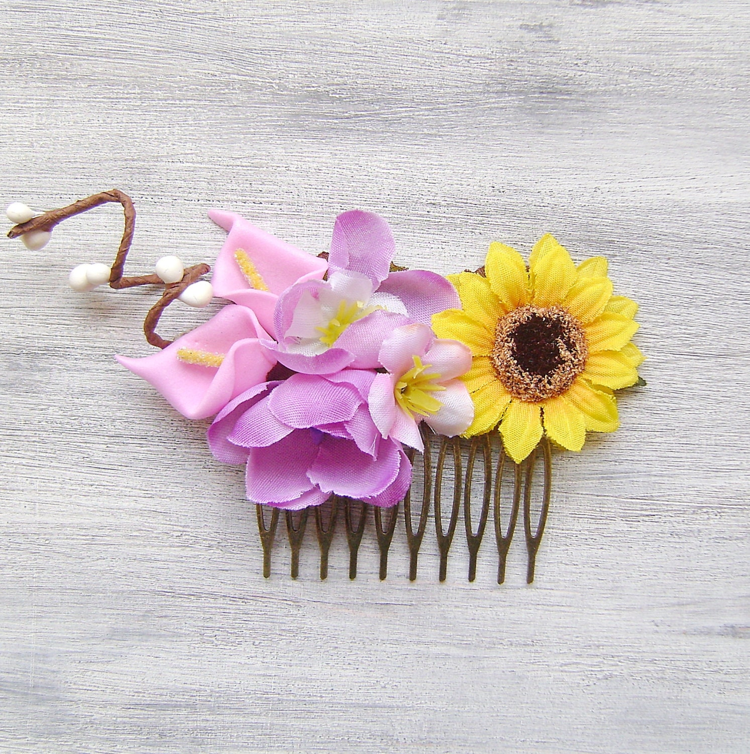 Yellow Sunflower And Pink Purple Flowers Comb Wedding