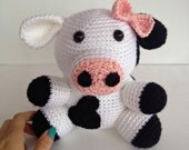 Girly Crochet Cow Stuffed Animal in Black and White w/Pink Bow