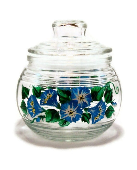 Painted Glass Jar/ Bowl With Lid