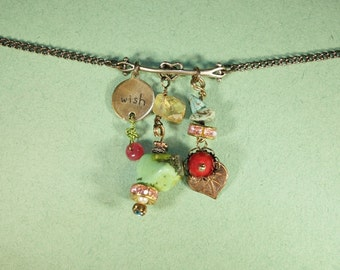 Turquoise, Ruby, Gaspeite, Citrine, Wish Necklace