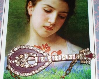 Gallo Mandolin Brooch - Enamel Rhinestone Pin - Vintage - Signed
