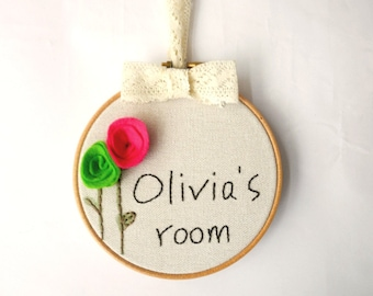 Customized Name Embroidery and Felt Hoop Art, Girls personalized room sign, Custom Name Sign, girls room decor,nursery decor