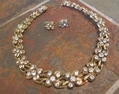 Art Deco bronze or brass twisted wire and rhinestone necklace and earrings