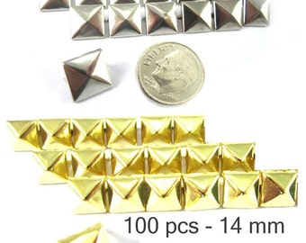 100 pcs - 9/16 inches (14 mm.) Nailheads Spots Pyramid Studs - 2 Prong (2 legs) Square Stud Spike - for DIY bag , shoes , on clothes