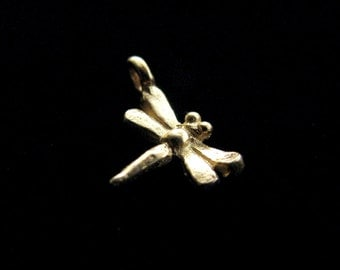 CLEARANCE Small Dragonfly Gold Vermeil Charm 4 pcs 13 x 9 mm CH215