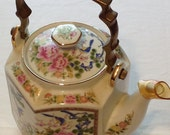 Ceramic and Brass Painted Teapot