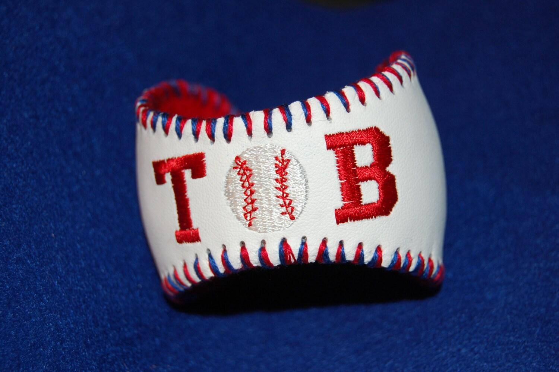 monogrammed repurposed baseball cuff bracelet
