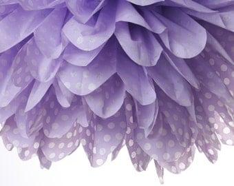 Lavender - White Polka Dot 1 Large tissue paper pom poms