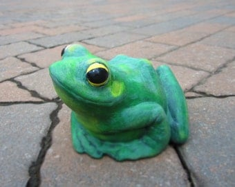 Ceramic Garden Frog - hand painted, indoor or outdoor, lawn or garden