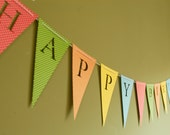Happy Birthday Banner - Custom Personalized Bunting (Sign, Flags, Pennants) in bold color polka dots. Perfect for Party Decoration