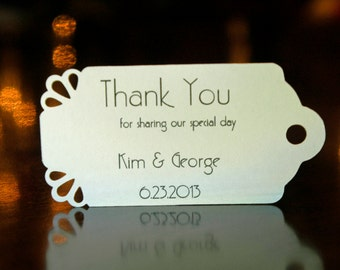 Wedding Favor Tags - Art Deco - (50) - Personalized Thank You Tags, Your Colors, Your Letters.Perfect for Wedding or Party Favors
