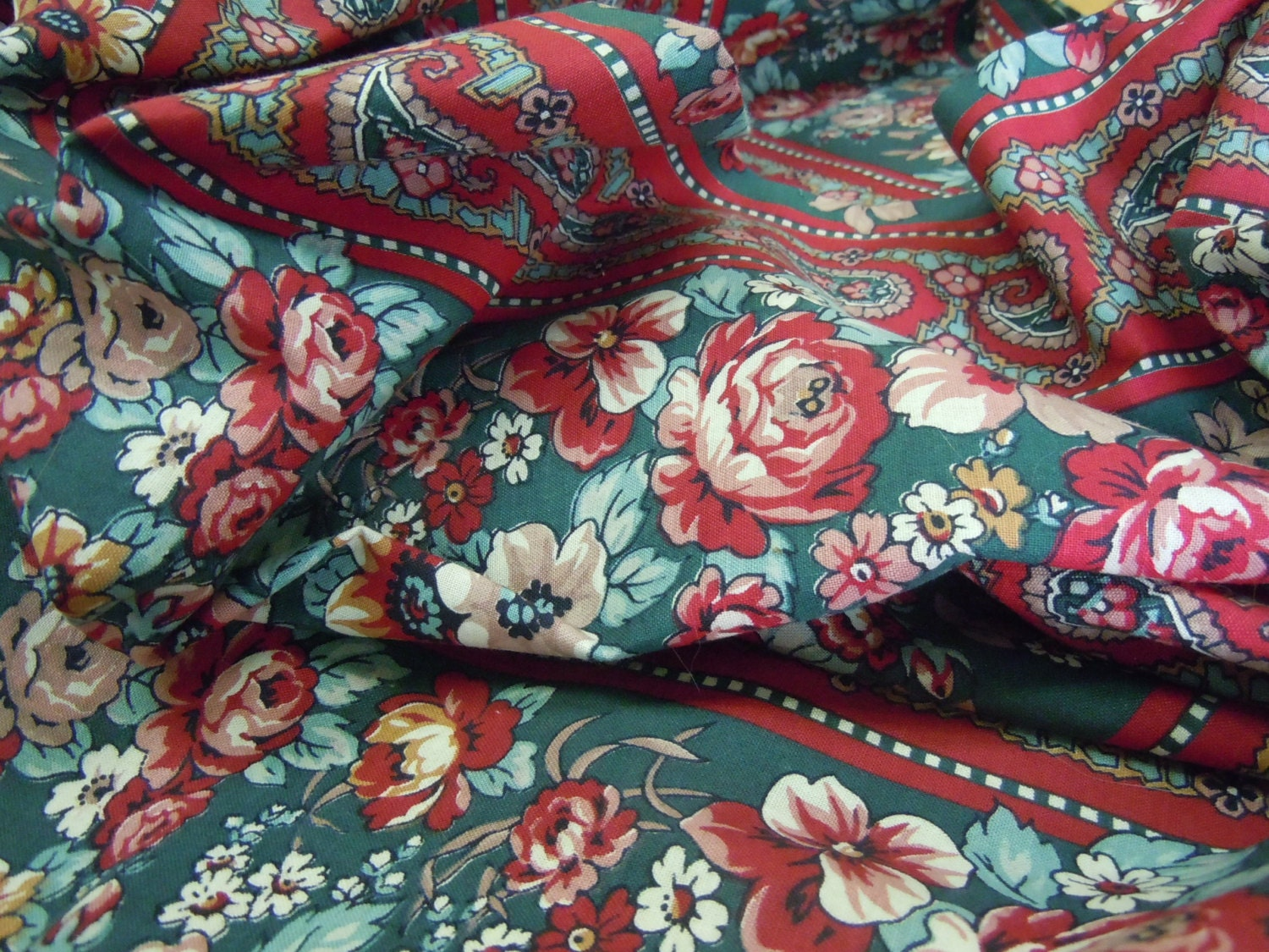 Vintage victorian paisley fabric striped floral red for Victorian floral fabric