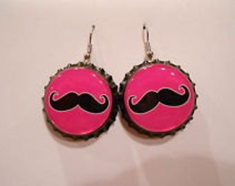 Mustache bottle cap earrings