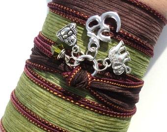 Namaste Om Silk Wrap Bracelet Buddha Yoga Jewelry Ganesha Sacred Elephant Meditation Etsy Earthy Unique Gift For Her Under 50 Item J72