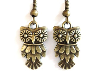 Owl Earrings Unique Jewelry Bohemian Earthy Gift For Her Black Friday Cyber Monday Mothers Day Under 10 Item C53