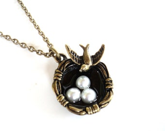Bird Nest Necklace Mothers Day Wedding Bridesmaid Three Pearl Eggs Unique Gift for Her Item E24