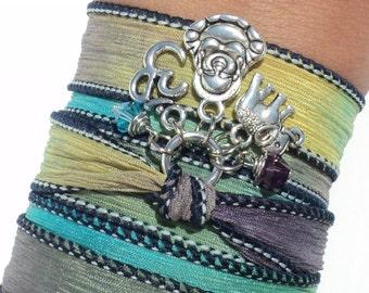 Namaste Buddha Silk Wrap Bracelet Yoga Jewlery Meditation Upper Arm Band Sacred Elephant Unique Gift For Her Birthday Under 50 Item V19