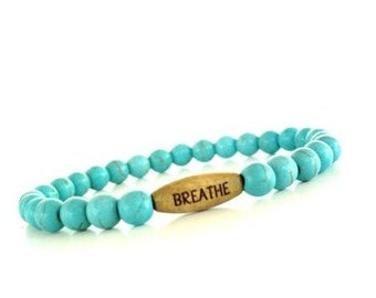 Breathe Mala Bracelet Yoga Jewelry Turquoise Calming Protection Strength Bohemian Stretch Beaded Unique Gift For Her Under 25 Item S73