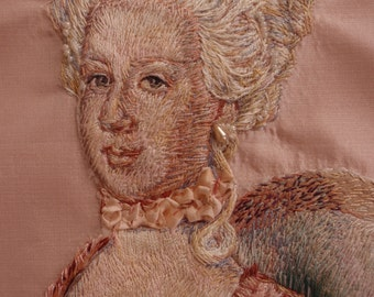 FOR CUSTOM ORDER. Marie Antoinette Portrait Hand Embroidered Silk Thread Painting Needlework Rococo Baroque Art Pillow Cover