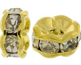 Package of 25 Gold Plated Rondelles / Spacer Beads - 5mm Crystal Clear (sku 5023 - 2090B-5G-CR)