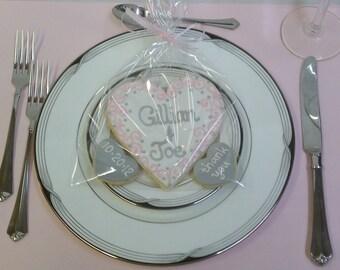 Cookie Wedding Favor, Grey Blush, Pink Black & White