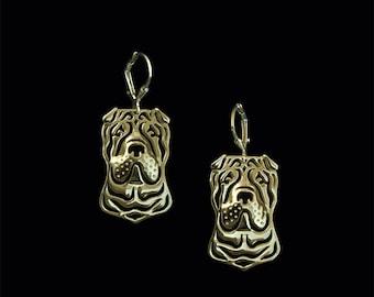 Chinese Shar Pei earrings - Gold