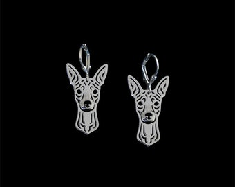 Miniature Pinscher with natural ears earrings - sterling silver.