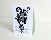 Damask Wedding Table Numbers - Modern Tent Style Paper Wedding Reception Table Decor, Set of 10 - Damask Pattern Black White Gray
