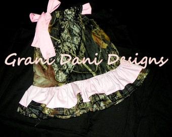 Mossy Oak double ruffle  light pink baby girl 0 3 6 9 12 18 months toddler 3t 3t 4t 5t pillowcase dress camo