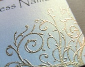 50 Handcrafted Handembossed Metallic Gold Scroll Business Cards, Customize Your Colors and Fonts, Golden Flourish, Swirl