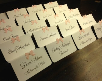 10 Wedding Place Cards / Escort Cards, Bridal Shower, Birthday, Pink Ribbon with Pearl, Customize Any Color, Name Printing Upgrade Possible