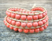 Beaded Leather Wrap Bracelet 3 Wrap with Pink Coral Beads on Natural Tan Leather