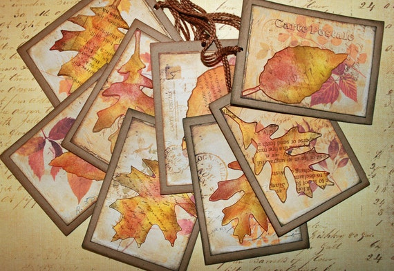 Fallen leaf tag set 8 diecut fall leaves on craft cardstock