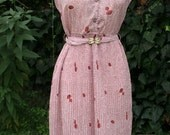 Stunning pink pleated Japanese tea dress with leaf and acorn left patter and matching belt size M L