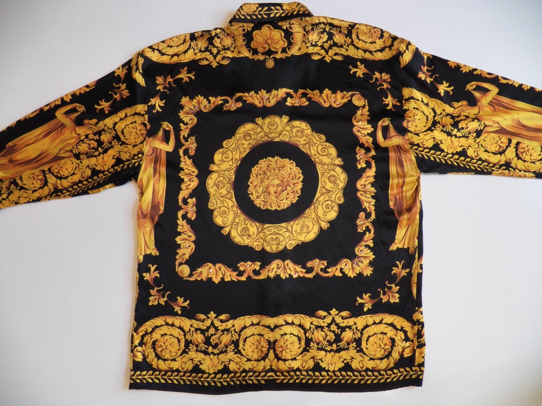 versace style mens large 100 silk shirt vintage rare medusa ForVersace Style Shirt Mens
