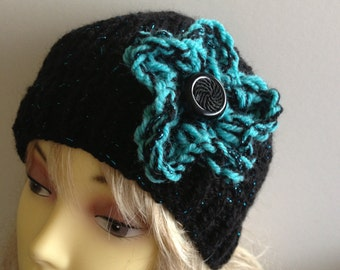 Ooak unique womens designer hand knit hat/crochet with flower and added button black and turqoise