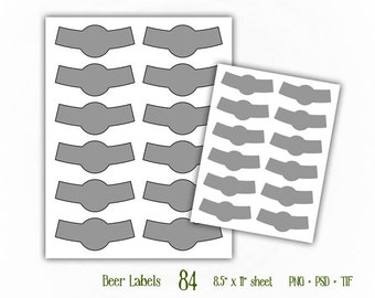 Round Bottle Neck Labels - Digital Collage Sheet Layered Template - (T084)