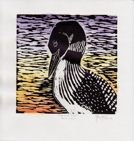 common loon original block print hand-colored