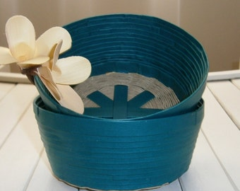 Woven Recycled Paper Basket / Bowl - Cerulean Blue / Teal with Natural Hemp Twined Base, Handmade